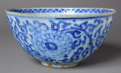 Bowl with peonies and scrolls