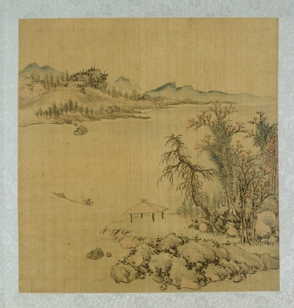 Landscape with a pavilion and a boat on the river