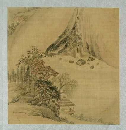 Landscape with a figure in a thatched pavilion