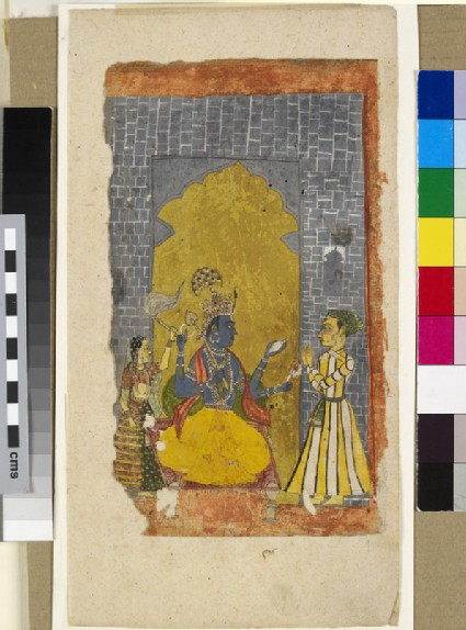 Vishnu enthroned with princely devotee standing before him, or Krishna appearing as the four-armed Vishnu