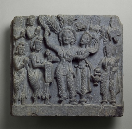 Relief depicting the birth of the Buddha