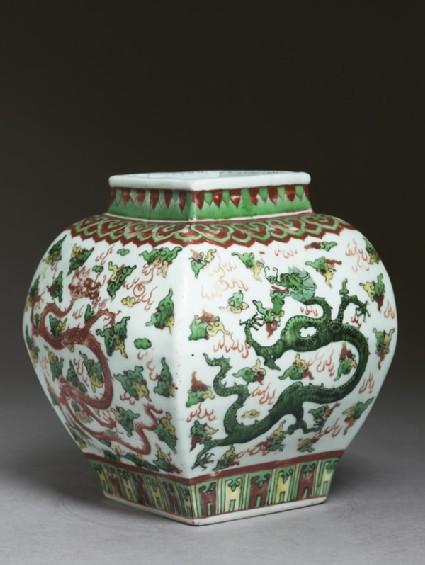 Square vase with overglaze enamel decoration