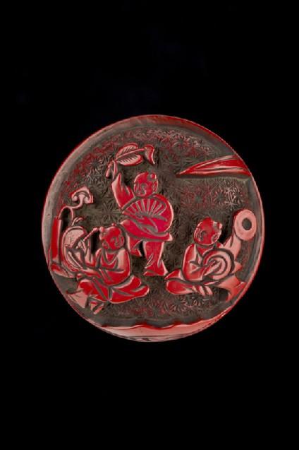 Manjū netsuke depicting five Chinese boys extending onto reverse