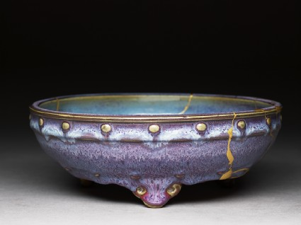 Bulb bowl with purple and blue glazes