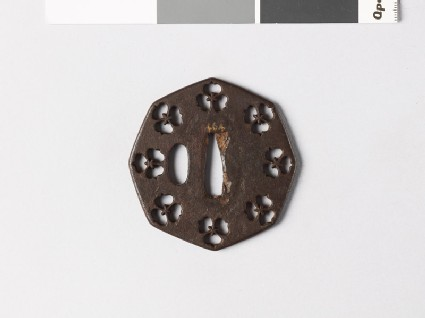 Octagonal tsuba with three-petalled flowers