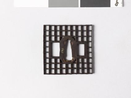 Square tsuba with chequer pattern