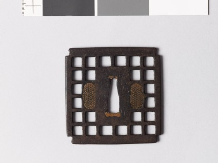 Tsuba with chequer pattern