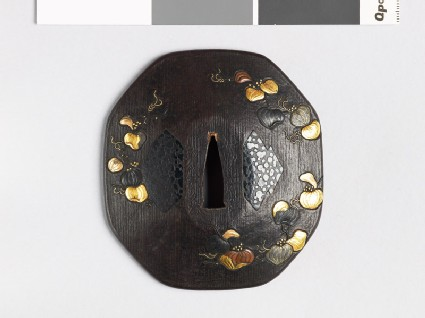 Octagonal tsuba with smilax plants and matsukawa-bishi, or overlapping lozenges