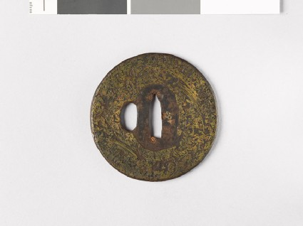 Tsuba incrusted with brass wire