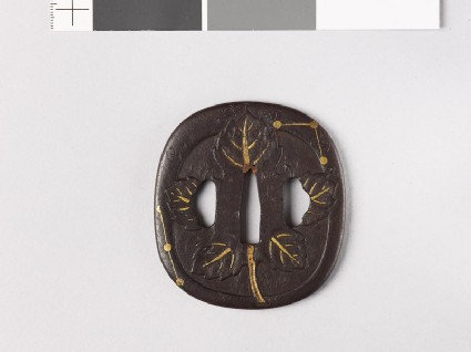 Tsuba with symbols of poem-writing at the Tanabata Festival