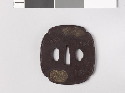 Mokkō-shaped tsuba with fan mounts depicting a phoenix and a unicorn