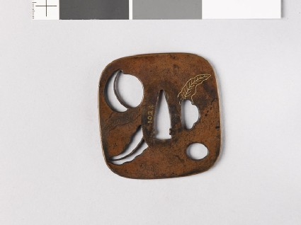 Tsuba with peach and leaves