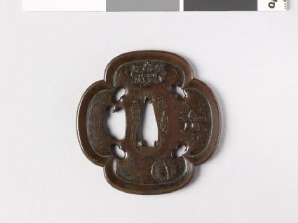 Mokkō-shaped tsuba with inome, or heart-shapes