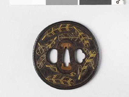 Tsuba with heraldic hawk feathers