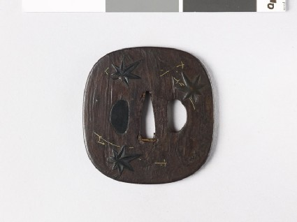 Tsuba with maple and pine leaves