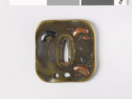 Tsuba with persimmons and bottle-gourd vine