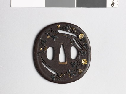 Tsuba with clematis, susuki grass, and mon crests of the Katagiri family