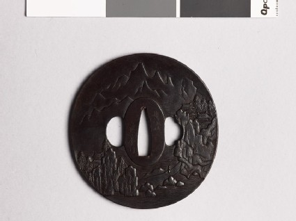 Tsuba with Chinese-style landscape