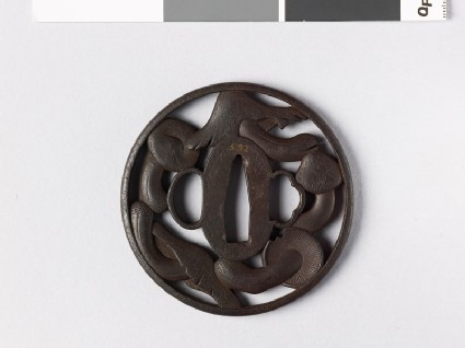 Round tsuba with five mushrooms