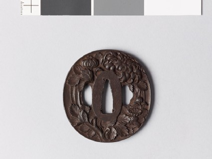 Tsuba with chrysanthemum and aster flowers