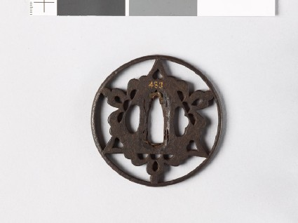 Round tsuba with triangle and flowers