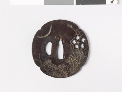 Mokkō-shaped tsuba with heraldic flower and crescent moon
