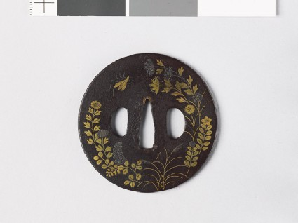 Round tsuba with autumn flowes and insects