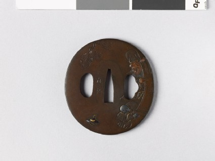 Tsuba depicting the god of luck, Jurōjin, with a picture of Mount Fuji