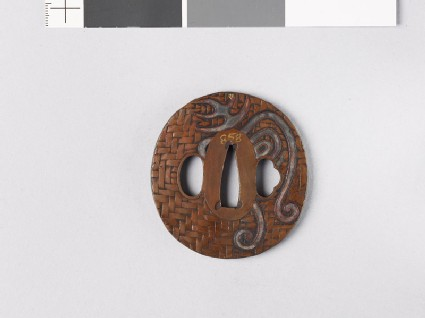 Tsuba with 'long life' character, butterfly, and leaves