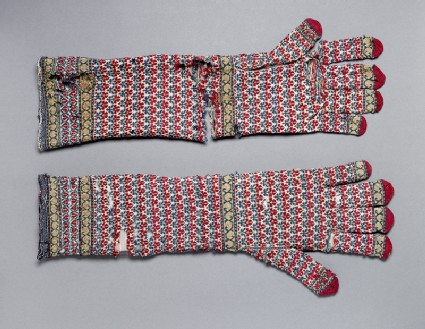 Pair of long knitted gloves
