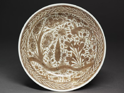 Dish with phoenix in a landscape
