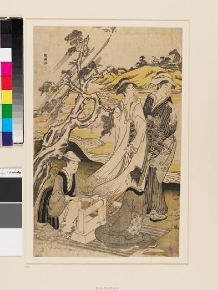 Women fulling cloth at the Jewel River of Mishima
