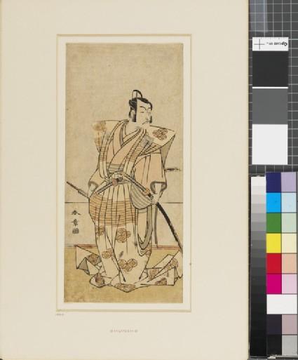 Ichikawa Danjurō V as a samurai holding sword and fan