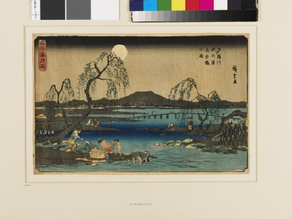 Catching Fish by Moonlight on the Tama River under the Autumn Moon