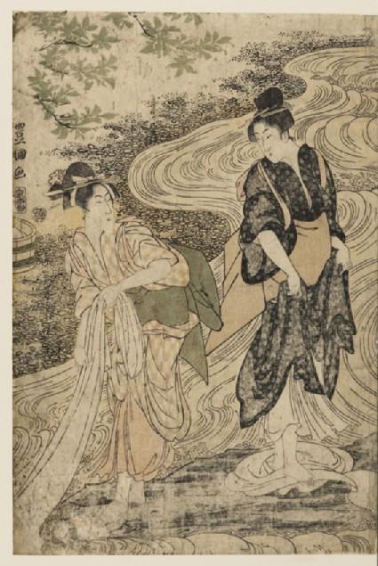 Dyers washing cloth in a stream