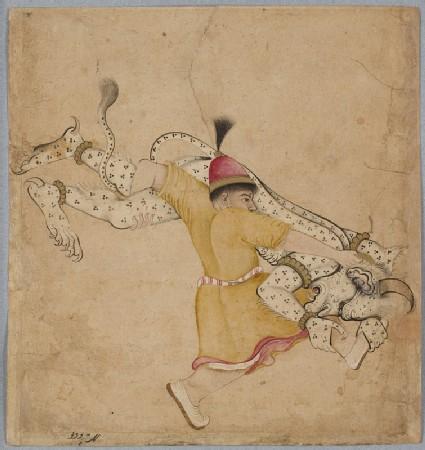 A hero wrestles a div, or demon