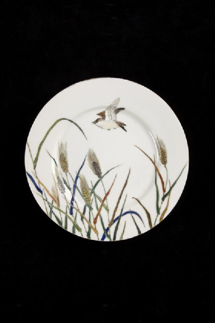 Plate from a tea service, with design of bird and grasses