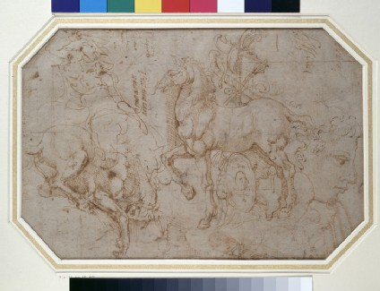 Recto: Horses and other studies <br />Verso: Figure of a nude man and various architectural mouldings