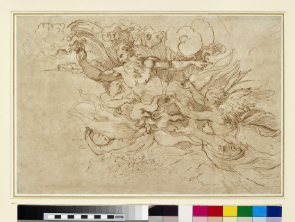 Recto: Study for God appearing to Moses<br />Verso: Figure of victory after a relief on the Arch of Titus, Rome