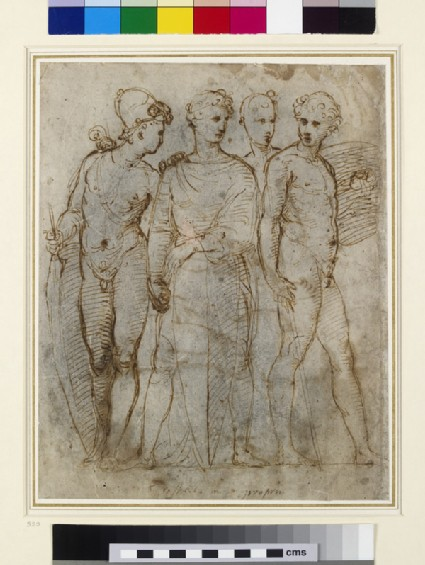 Recto: Four standing soldiers <br />Verso: two studies of arms, a profile looking upwards and a standing figure
