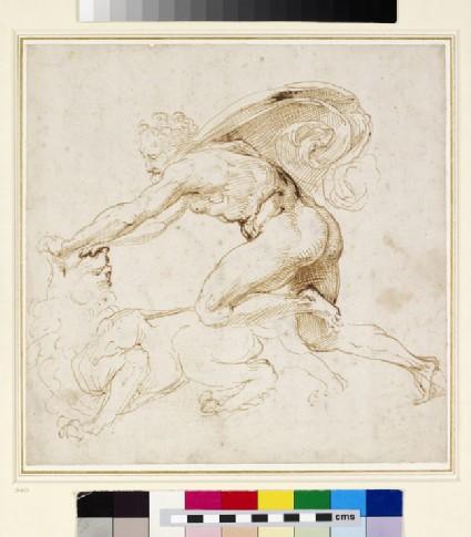 Recto: Hercules overpowering the Nemean lion <br />Verso: Head of a Woman