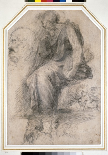 A male saint, seated (St Paul): Study for the Disputa