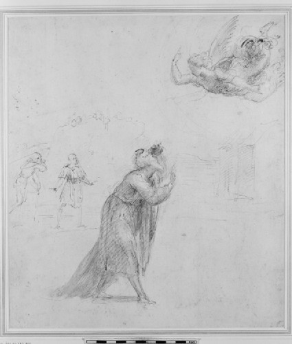 Recto: The Angel appearing to Joachim<br />Verso: Composition of two Figures representing the Meeting of Joachim and Anna