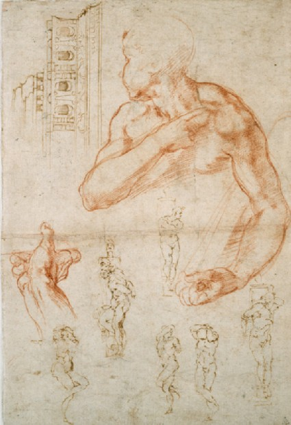 Recto: Various Studies for the Sistine Ceiling and for the Tomb of Pope Julius II