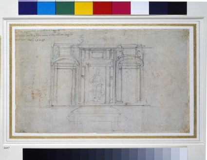 Recto: Design for one of the Medici Tombs<br />Verso: A Study of a Figure