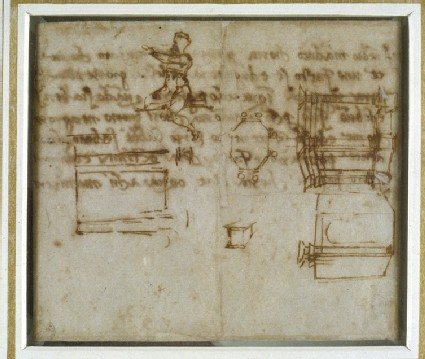 Recto: Slight Sketches of Architecture and a small Figure Study