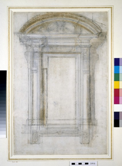 Recto: Design for a window<br />Verso: Study of a man's arm and some architectural sketches