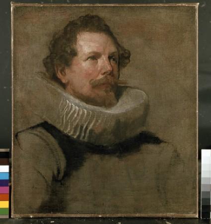 Head of a bearded Man wearing a Wheel Ruff