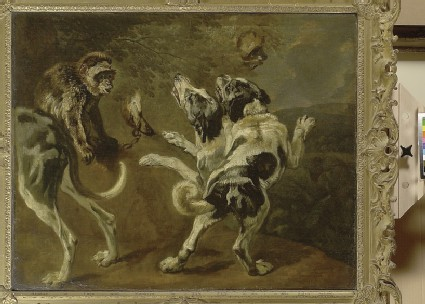 Study of Dogs and a Monkey on the Edge of a Wood