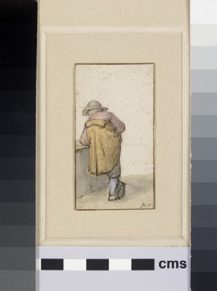A Peasant seen from the back leaning, with Feet crossed, against a low Wall to his left